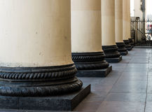 Pillars. Neoclassical pillars on Railway Station Royalty Free Stock Photo