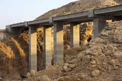 Pillars of a new highway bridge Royalty Free Stock Images