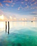Pillars in the ocean. Wooden pillars in the ocean, Mabul Island Semporna Stock Image