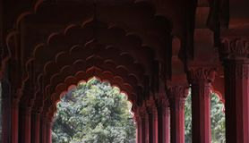 A building in Red Fort complex. Pillars in one the buildings in Red Fort Complex Royalty Free Stock Image