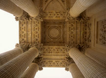 The pillars of Pantheon. Columns on the front porch of the Patheon in Paris, France Royalty Free Stock Photos