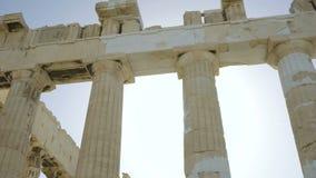 Pillars of Parthenon - ancient temple in Athenian Acropolis stock video