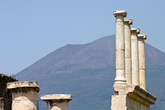Pillars of Pompei. In front of the Vesuv stock photos