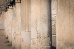 Pillars of Pompeii. Pillars that surround the gladiator arena in Pompeii, Italy Stock Photo