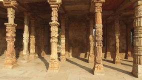 Pillars at the Qutb Minar complex - India stock footage