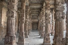 Pillars in qutub complex Royalty Free Stock Photography