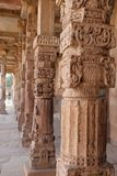 Pillars in Qutub Minar Complex,Delhi, India. Pink stone Pillars in Qutub Minar Complex a UNESCO World Heritage Site in the Mehrauli area of Delhi, India royalty free stock images