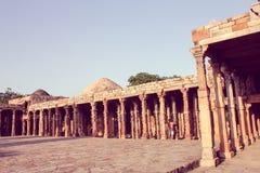Pillars in qutub minar, retro style Stock Image