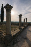 Pillars of the roman ruins, Volubilis, Morocco. Some pillars of the roman ruins of Volubilis on a beautiful day with sunshine, blue sky and only few clouds royalty free stock image