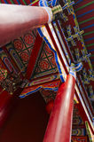 Pillars and roof. The  red   pillars and roof   of   the chinese  temple Royalty Free Stock Images