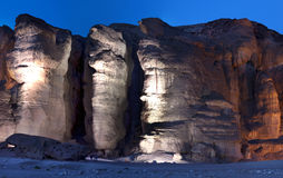 Pillars of Solomon. This shot was taken by night at the National geological and historical park Timna, Israel Royalty Free Stock Photos