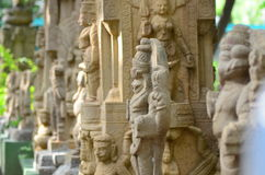 Pillars & statues of temple. Pillars with carved idols found in old temples of southern  India Stock Images