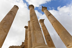 Pillars temple of artemis. In ancient city of jerash, jordan Royalty Free Stock Images