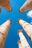 Pillars Temple of Artemis in Jerash Stock Images