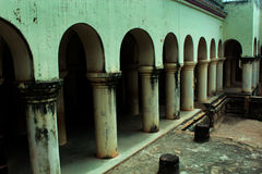 Pillars of the thanjavur maratha palace. The Thanjavur Maratha Palace Complex, known locally as Aranmanai, is the official residence of the Bhonsle family who stock images