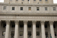 Pillars of the United States Court House, lower Manhattan Royalty Free Stock Photo