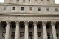 Pillars of the United States Court House, lower Manhattan. New York Royalty Free Stock Photo