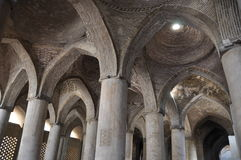 Pillars and vaults. Inside Masjed-e Jameh mosque in Isfahan, Iran Royalty Free Stock Image