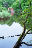 Pillau fortress ruins. Water reflection. Green nature. Stock Photo