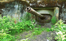 Pillbox militar abandonado velho com um canhão do tanque. Fotografia de Stock