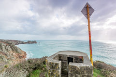 Pillbox near porthcurno in Cornwall england uk. Stock Photos