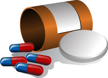 Pillbox and pills. Pillbox with label, cap open and scattered pills. 3d vector isometric illustration Royalty Free Stock Photo