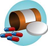 Pillbox and pills Stock Photo