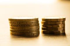 Pille av brittiska mynt Royaltyfria Bilder