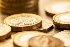 Pille av brittiska mynt Royaltyfri Fotografi