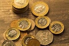 Pille av brittiska mynt Fotografering för Bildbyråer