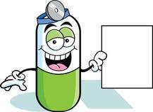 Pille, die ein Zeichen anhält Stockfoto
