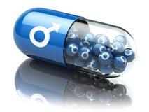 Pille für Sex, Zunahme der Kraft und Aufrichtungskonzept kapsel vektor abbildung