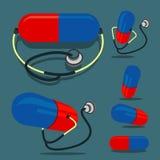 Pille (red&blue Farbe) und Stethoskop Lizenzfreies Stockbild