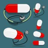 Pille und Stethoskop Stockbild