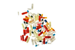 Pillen über Weiß stockbild