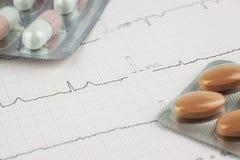 Pillen auf EKG-Herzblatt Stockbilder