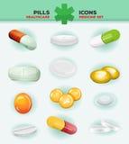 Pillen, Capsules en de Pictogrammen van de Geneeskundetablet stock illustratie