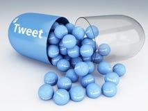 Pillen 3d mit Tweets Lizenzfreies Stockbild