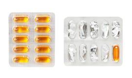 Pillen in den Blisterpackungen als Hintergrund Lizenzfreie Stockfotos