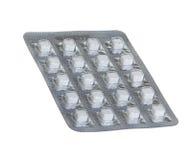 Pillen in den Blisterpackungen lokalisiert auf Weiß Stockfotografie