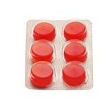 Pillen in der Blisterpackung lokalisiert auf Weiß Lizenzfreie Stockbilder