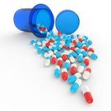 Pillen, die aus Tablettenfläschchen auf Weiß heraus verschüttet werden lizenzfreie abbildung