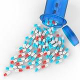 Pillen, die aus Tablettenfläschchen auf Weiß heraus verschüttet werden stock abbildung