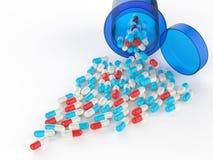 Pillen, die aus Tablettenfläschchen heraus verschüttet werden vektor abbildung