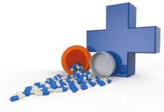 Pillen, die aus Tablettenfläschchen heraus verschüttet werden stock abbildung