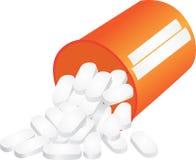 Pillen die van fles uitvallen Stock Afbeeldingen