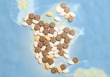 Pillen in een vorm van Noord-Amerika Royalty-vrije Stock Fotografie