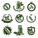 Pillen en geplaatste capsulesetiketten en elementen Vector royalty-vrije illustratie