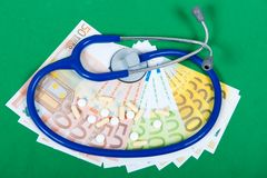 Pillen, Euros und Stethoskop auf grünem Hintergrund Lizenzfreie Stockfotografie