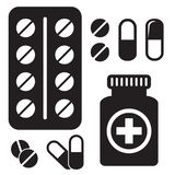 Pillen-Flaschen-Ikone Kapseln und Pillenikone Gesundheitswesenvektorillustration stock abbildung